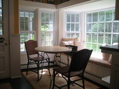 Kitchen dining nook with window seat