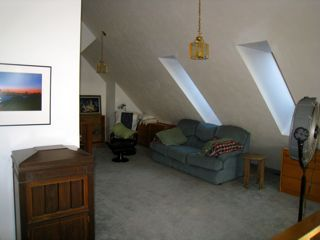 Loft area. Queen size hide a bed