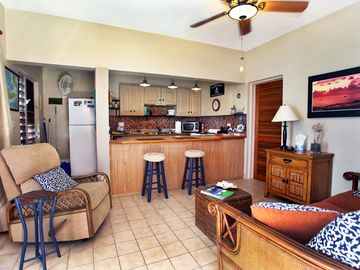 Full Kitchen and Living Area with fans and an Caribbean View
