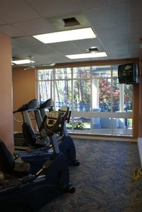 Work out facilities with treadmills, eliptical, weight machine, stationary bike.
