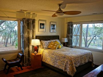 Beaufort house rental - Master bedroom overlooks creeks from both windows.