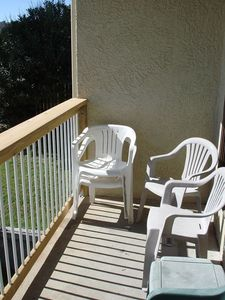 Picture of quiet, private balcony located off of living room area.