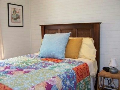 Cozy guest bedroom with double bed.
