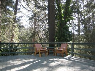 Lake Arrowhead cabin photo - Large private deck surrounded by trees