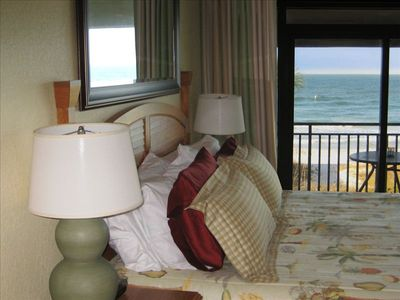 Look out on the gulf from the king bed