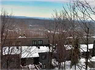 The view from the deck. The ski slope is @100 yds to the right.