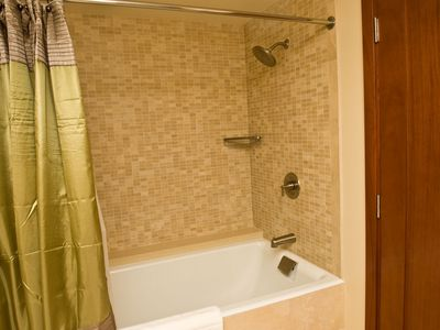 Bathroom #2: tub/shower & Hotel Collection extra soft towels