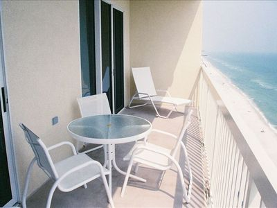 Relax and enjoy the fabulous view from the private balcony.