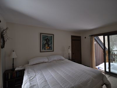 Master Bedroom with balcony. Great views of bubbling Mad River Brook.