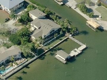 Fort Myers Beach house rental - Aerial View of our large fabulous home; we are on Matanzas Bay & amp; a canal.