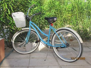 Two complimentary bicycles are provided with baskets, to our guests.