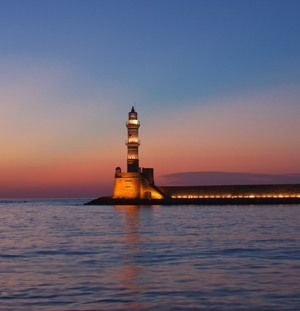 The famous light house at the old Venetian harbor in Hania old town