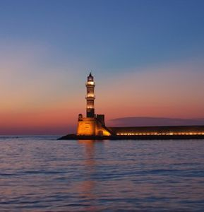 Platanias villa rental - The famous light house at the old Venetian harbor in Hania old town