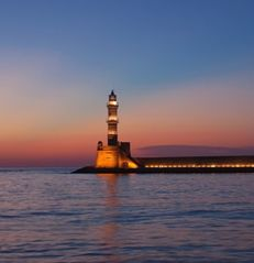 Platanias villa photo - The famous light house at the old Venetian harbor in Hania old town
