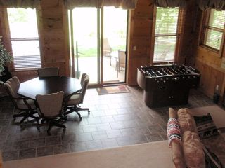 Lake Toxaway house photo - Large Lower level has game table reversable for card games. Foosball table too!