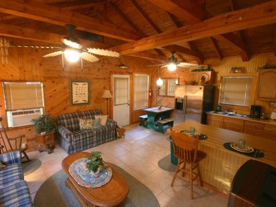 Hawkins cottage rental - Vaulted ceilings and exposed wooden beams give it a great look and feel.