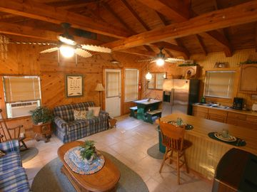 Vaulted ceilings and exposed wooden beams give it a great look and feel.