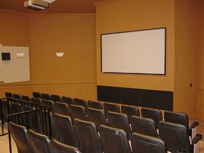 Private movie theatre at community clubhouse plays hundreds of DVDs