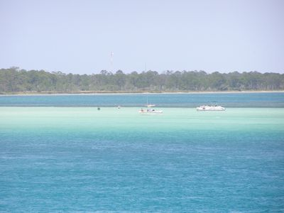 Emerald green water at popular Crab Island