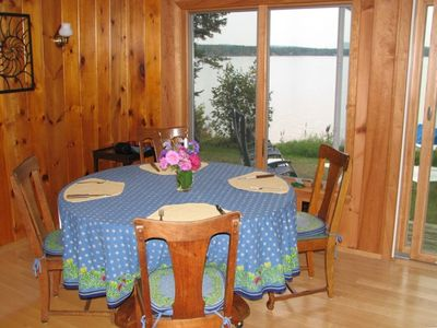 Madawaska Lake cottage rental - dining area overlooking lake