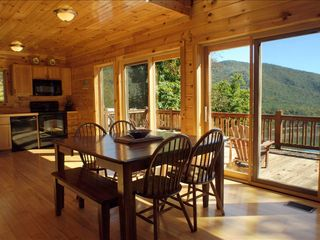 Watauga Lake cabin photo - Open Kitchen and Dining room with great views