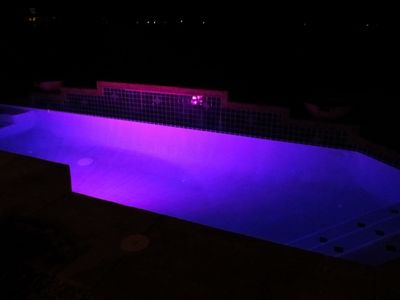 Pool has multi-colored light
