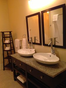 Serene Asian Bathroom includes Granite, Dual Vessel Vanity & Shower...