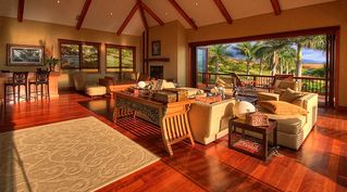 Kula estate photo - Grand living room, gas fireplace