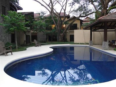 One of two pools in the condominium building