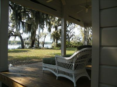 Relax on the porch...ceiling fans, shady, Spanish moss, Battery Creek