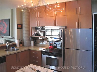 Spacious kitchen with island, fully equipped with all you need to cook and serve