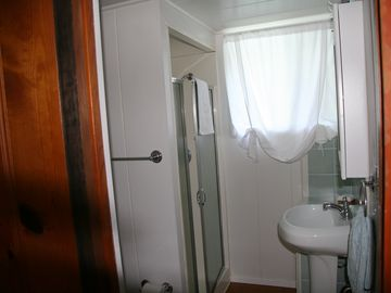 Guest bathroom including shower, sink and toilet.