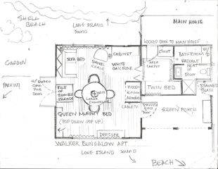 Branford bungalow photo - Layout ; semi-attached little bungalow with main room, sleeping nook , bathroom
