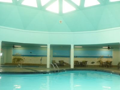 Heated indoor pool under a newly decorated dome