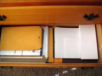 Home Office is fully stocked with envelopes, paper, stapler, the works!