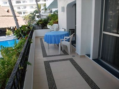 Manzanillo condo rental - The Balcony - you'll always find shade on some part of it!