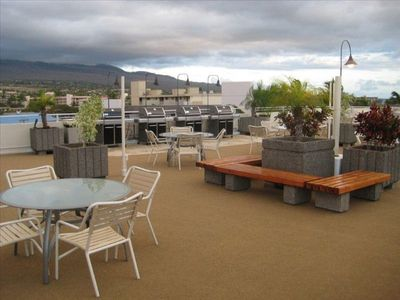 Roof top BBQ and patio area with gas BBQs