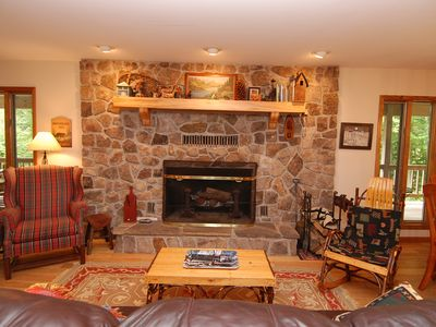 Beautiful stone fireplace built from stone on property