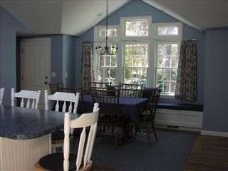 East Sandwich house photo - Large fully equipped kitchen with dining area, island with 4 stools