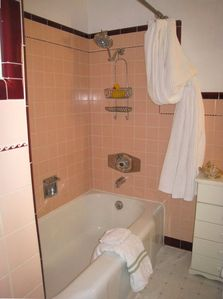 Charming Vintage Tile Bathroom Downstairs, perfect for kid's bubble bath.