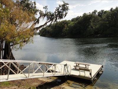 Your private dock with ramp and Suwannee River all in your font yard