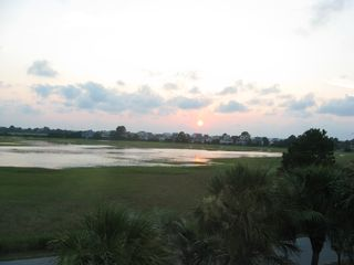Harbor Island house photo - Sunset over the marsh viewed from the back porch