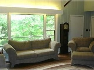 Windham chalet photo - Living room with large full view windows.