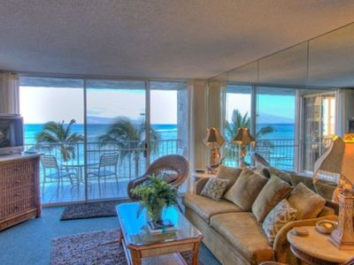 beautifully appointed living room, surrounded with ocean views!!
