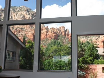 Sedona house rental - Exit to front patio and Thunder Mountain and view from master bedroom