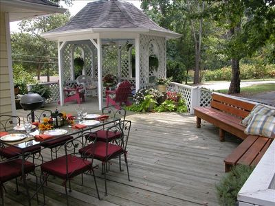 Enjoy our spacious deck and Gazebo