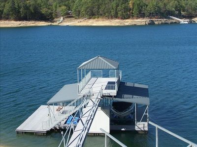 Covered Double Decker Boat Dock with Swim Pier and Swing