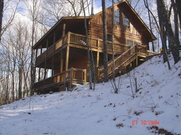 A winter shot of Cherry Log Mountain Retreat