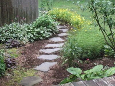 The enchanted garden path to the glorious hot/cold outdoor shower
