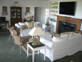 Ponte Vedra Beach house photo - Downstairs Living Room with Beautiful Ocean View through Glass Doors